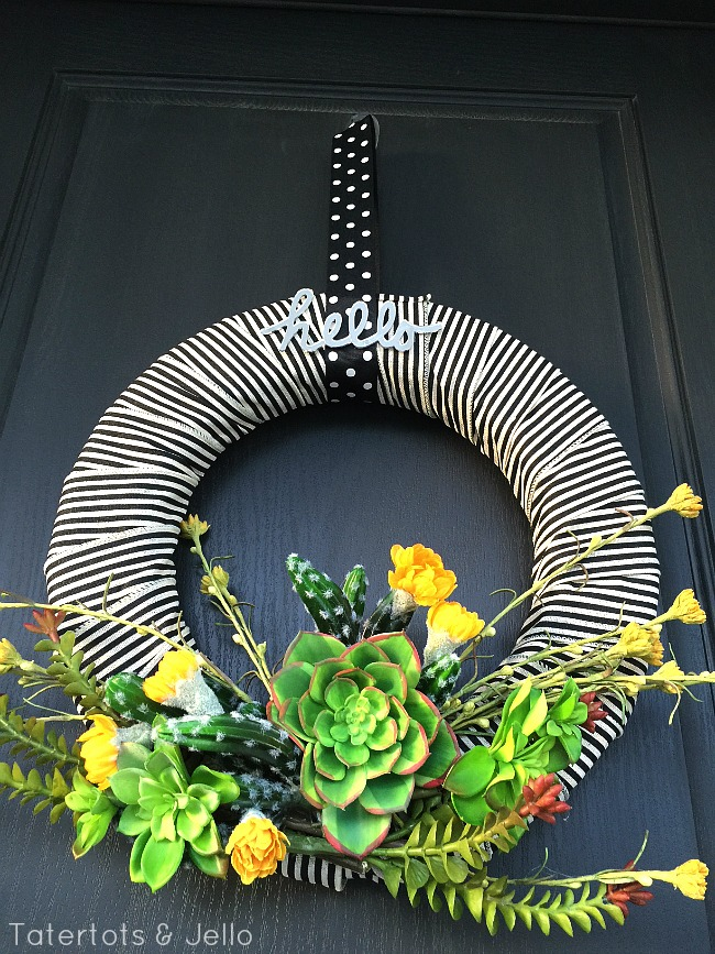 modern succulent ribbon wreath