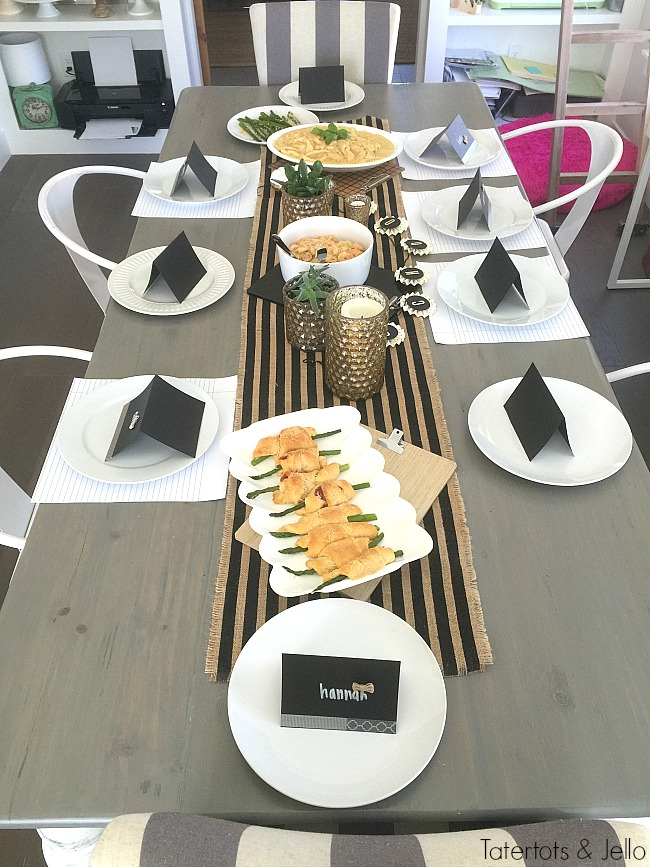 black and white back to school dinner party ideas
