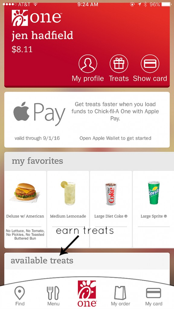 chick fil a one app earn free food