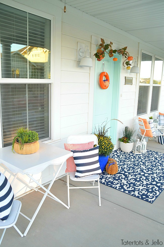 navy-and-organce-fall-porch-decorating