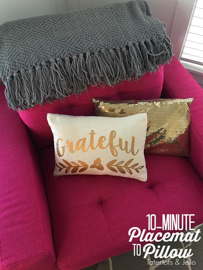 10 Minute Placemat to Pillow Cover DIY. Pillow covers are an easy and inexpensive way to change your home decor. Find out how to make one out of a placemat!