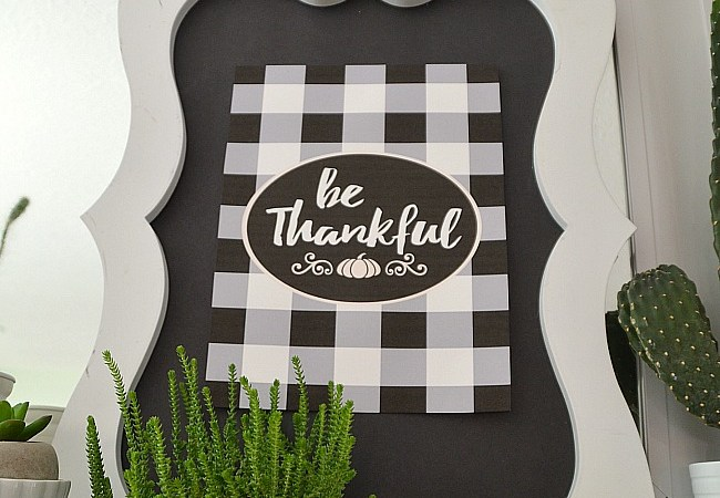 Buffalo Check Be Thankful Thanksgiving Free Printable