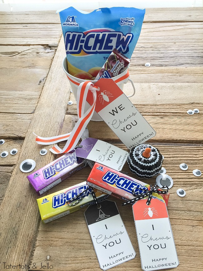 "hi-chew-gift-idea-we-chews-you-halloween-printables. I ""Chews"" You Halloween printable tags. Pair them with chewy HI-CHEWS candies for the perfect treat!"