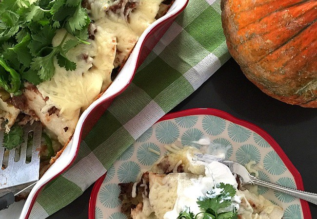 Savory Delicious Pumpkin Chicken Enchiladas