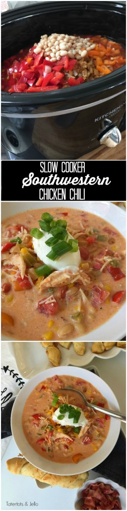 Slow Cooker Southwestern White Chili Chicken Recipe. I don't know what I would do without my slow cooker in the fall and winter. It's so easy to pop the ingredients in the slow cooker and come back at dinner with the house smelling wonderful and dinner ready!!