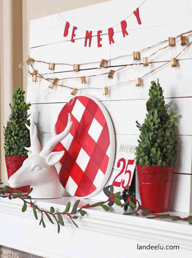 Buffalo Check Red and White Holiday Mantel