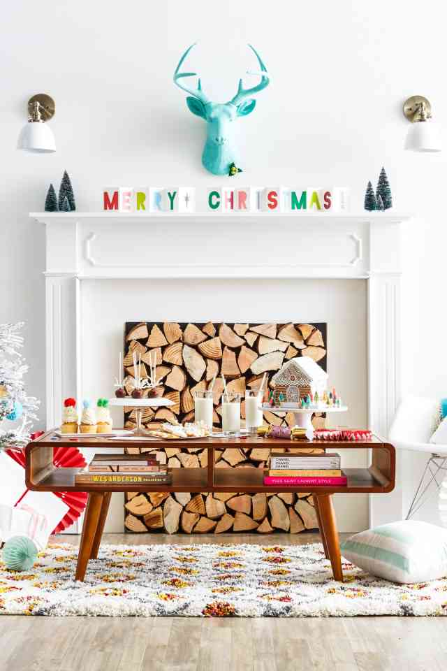 Bright colors holiday mantel. Gorgeous holiday mantel ideas plus over 100 ways to make the holidays special at your house this year!