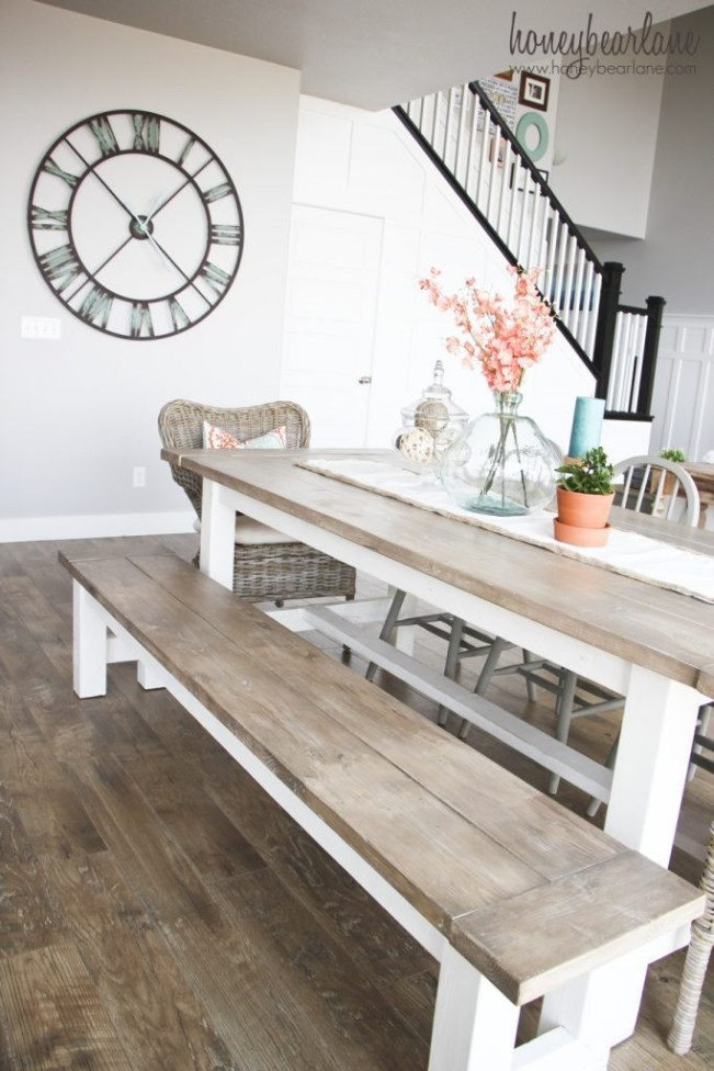 Build your own farmhouse table and bench. The great thing about it is you save money and you build a table that is exactly the size you want for your space!