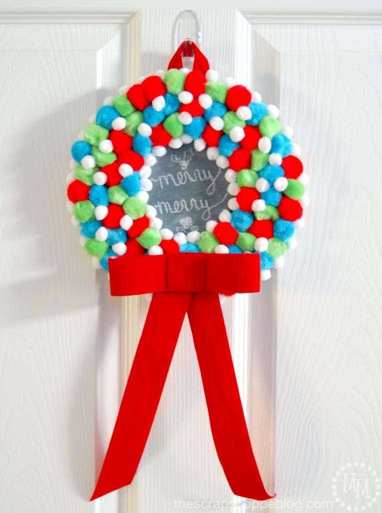 christmas pom pom chalkboard wreath