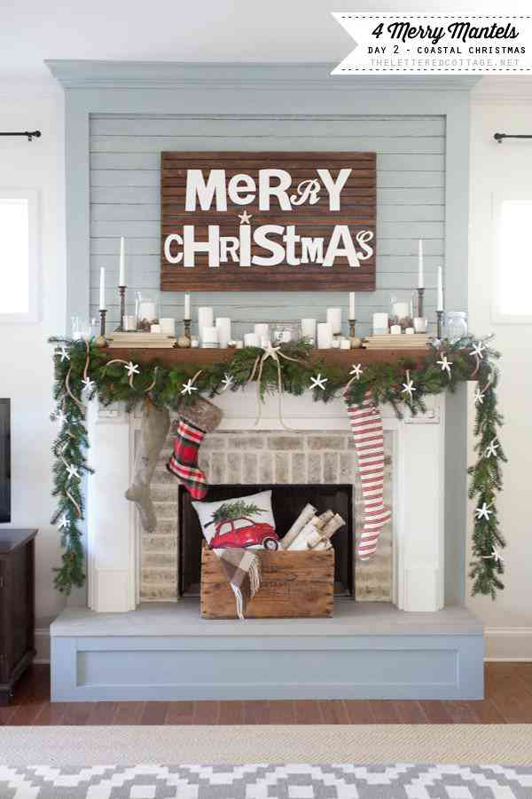 Pallet Merry Christmas Sign Mantel. Gorgeous mantel ideas plus over 100 ways to make the holidays super special at your house this year!