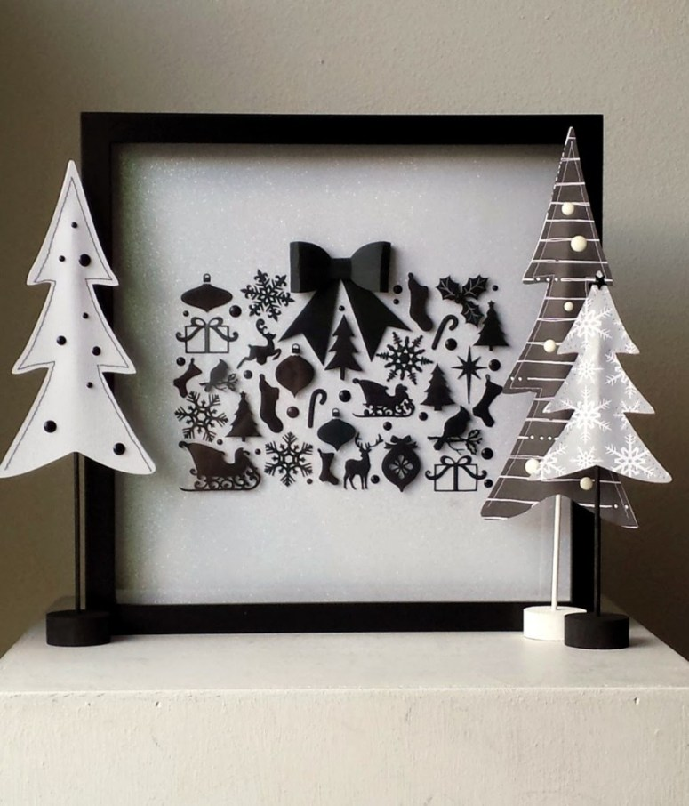 Black and white christmas shadow box