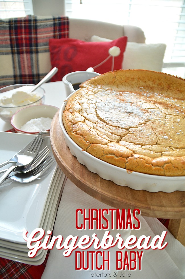 Giant Holiday Gingerbread Dutch Baby. How to make a giant fluffy gingerbread dutch baby pancake for christmas morning. Your family will love it and it's easy to make!