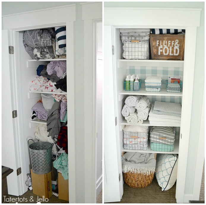 "Closet Makeover with Fabric. Create ""faux"" wallpaper for the fraction of the price iwth panels that can be changed out. All the no-sew details."