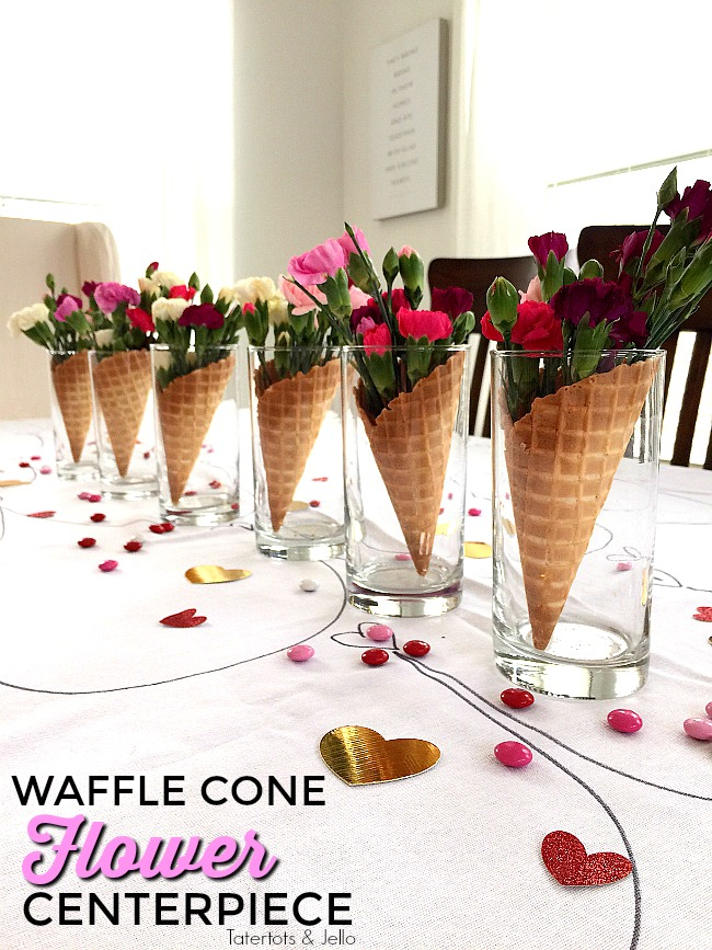 Waffle Cone Centerpieces you can make in 5 minutes are perfect for any type of party including Galantines!