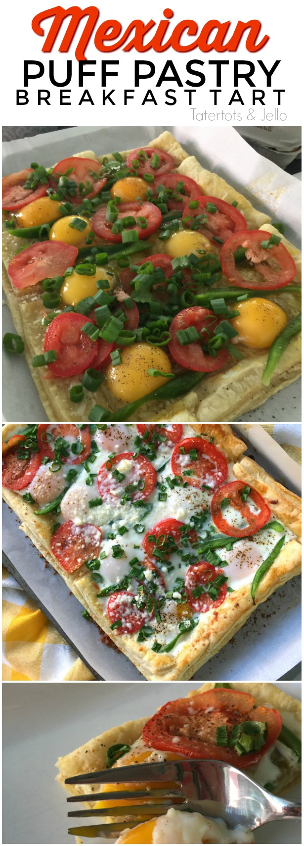 Southwestern puff pastry breakfast tart. Make this gorgeous tart in less than half an hour. Perfect for brunch!