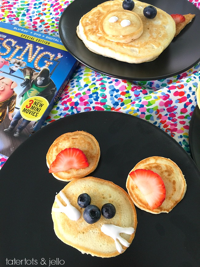 SING movie animal pancakes. Have a family movie viewing night and let the kids make pancakes with their favorite SING animal characters!