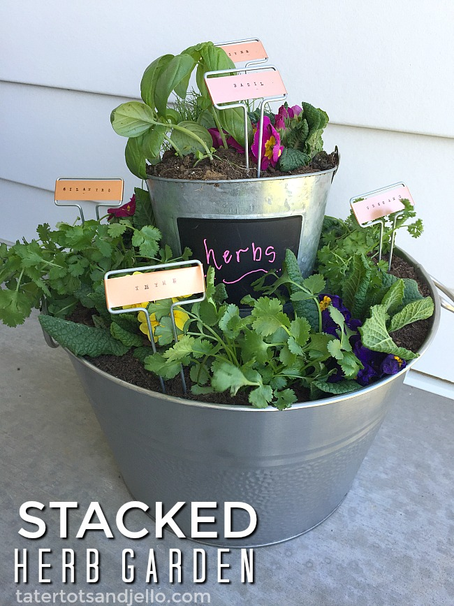 Stamped Garden Markers. Find out how to make easy stamped garden markers and a tiered herb garden for your home!