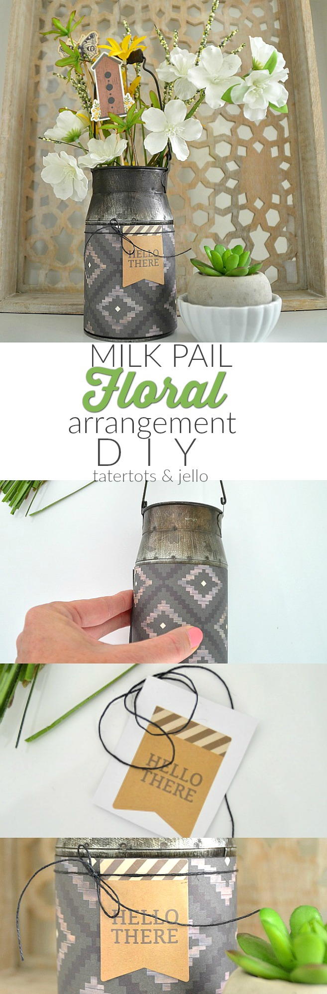 spring milk pail floral arrangement diy paper crafting tutorial
