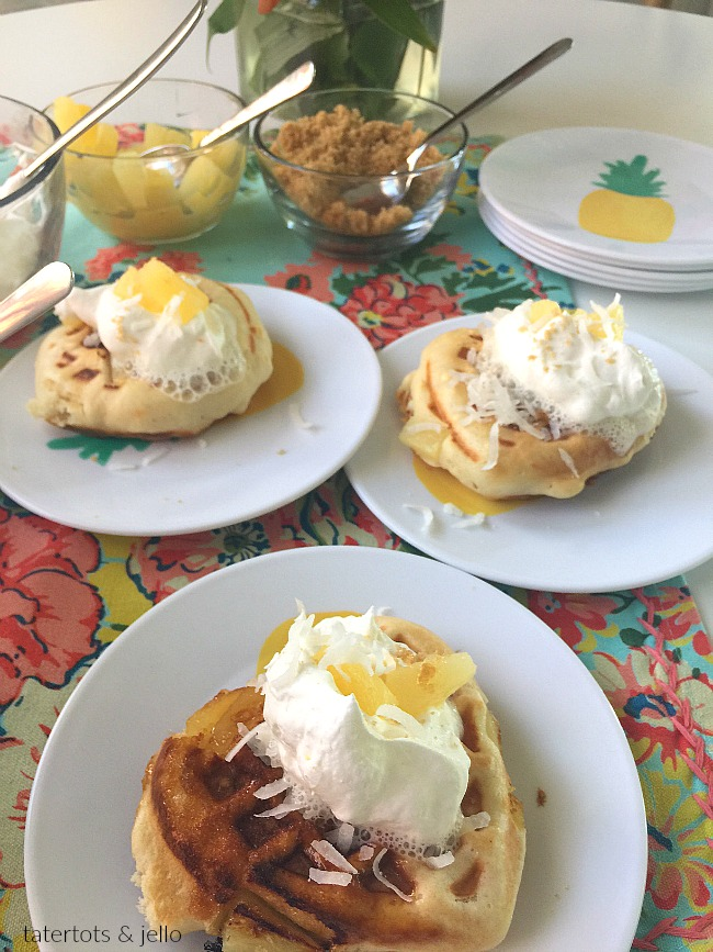 Pineapple Upside Down Waffles. Pineapple Upside Down Waffles are light and fluffy on the inside with a crisp caramelized pineapple crust. Top them with whipped cream, coconut and syrup!