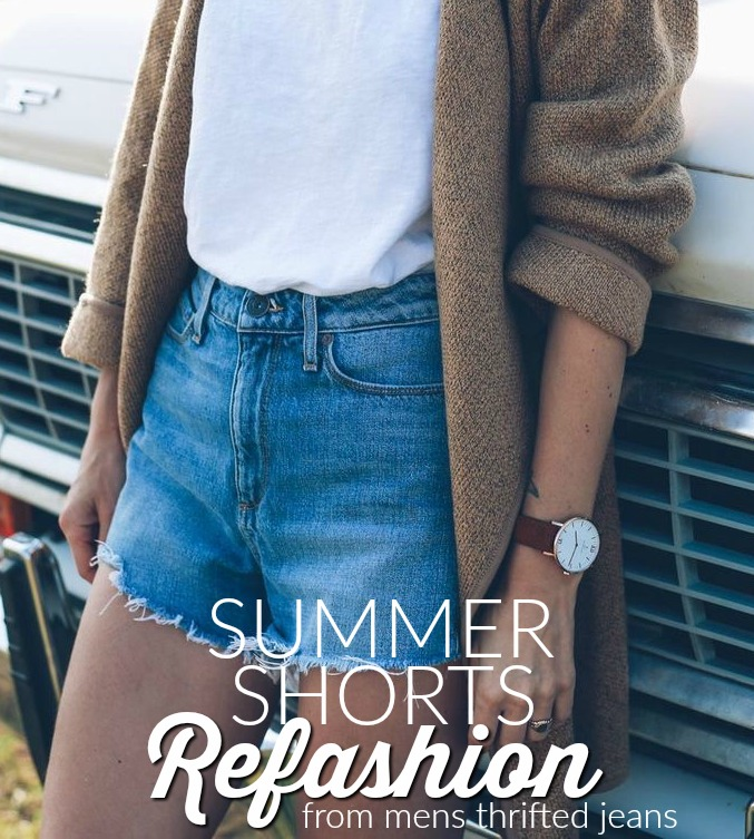 Summer shorts refashion. Turn mens thrifted jeans into stylish shorts this summer!