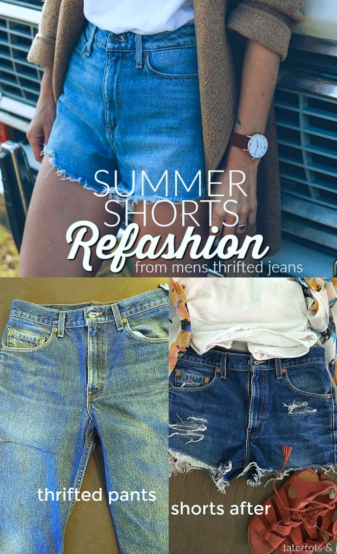 cb7e9d116b7b summer shorts refashion from thrifted jeans free refashion