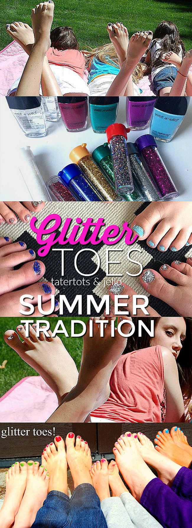Glitter Toes Summer Tradition. Last Day of school tradition- glitter toes for summer tutorial!