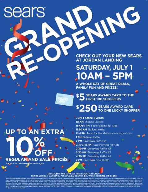Sears grand reopening in jordan landing west jordan utah