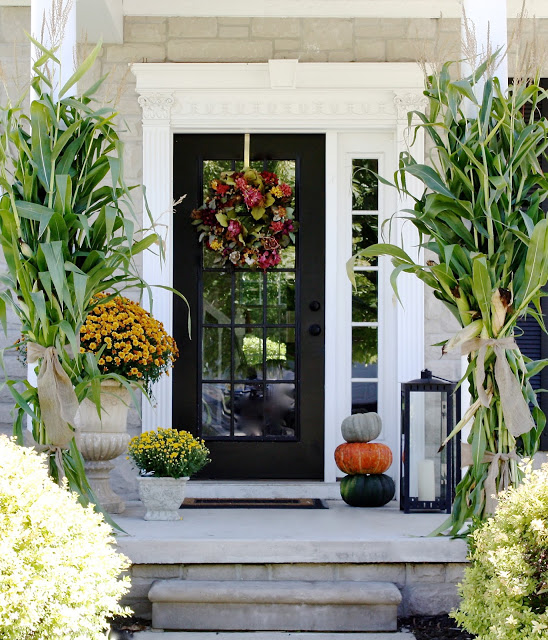 Fall front porch from The Yellow Cape cod.