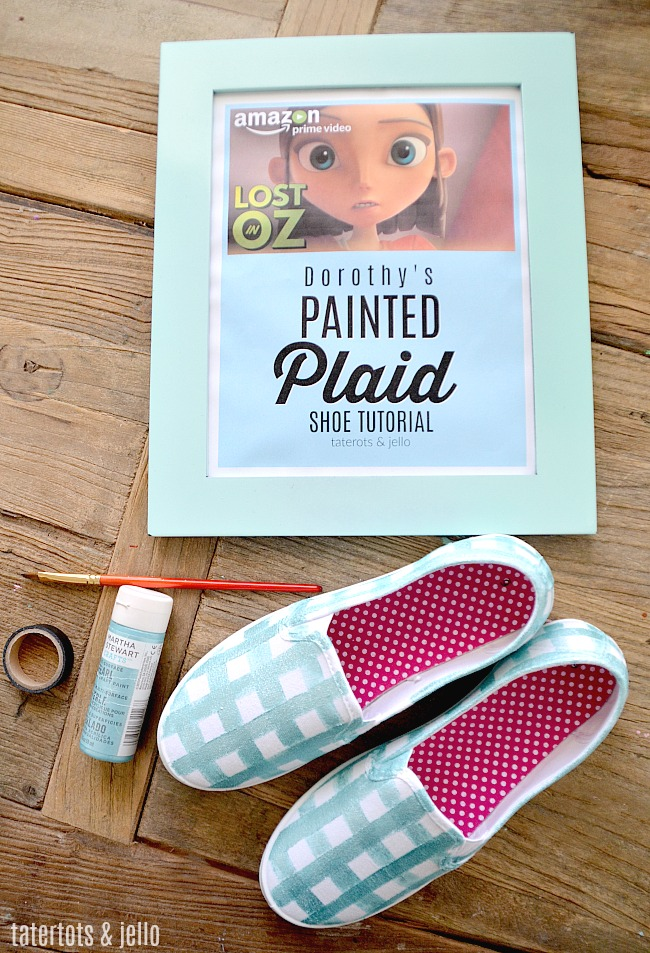 Lost in Oz painted plaid sneaker tutorial