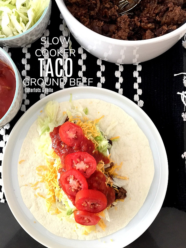 Slow Cooker Taco Meat. Layer taco meat ingredients in your slow cooker and let it cook while you are busy. It makes an easy school-night dinner.