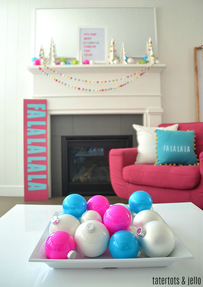 colorful bright modern holiday mantel