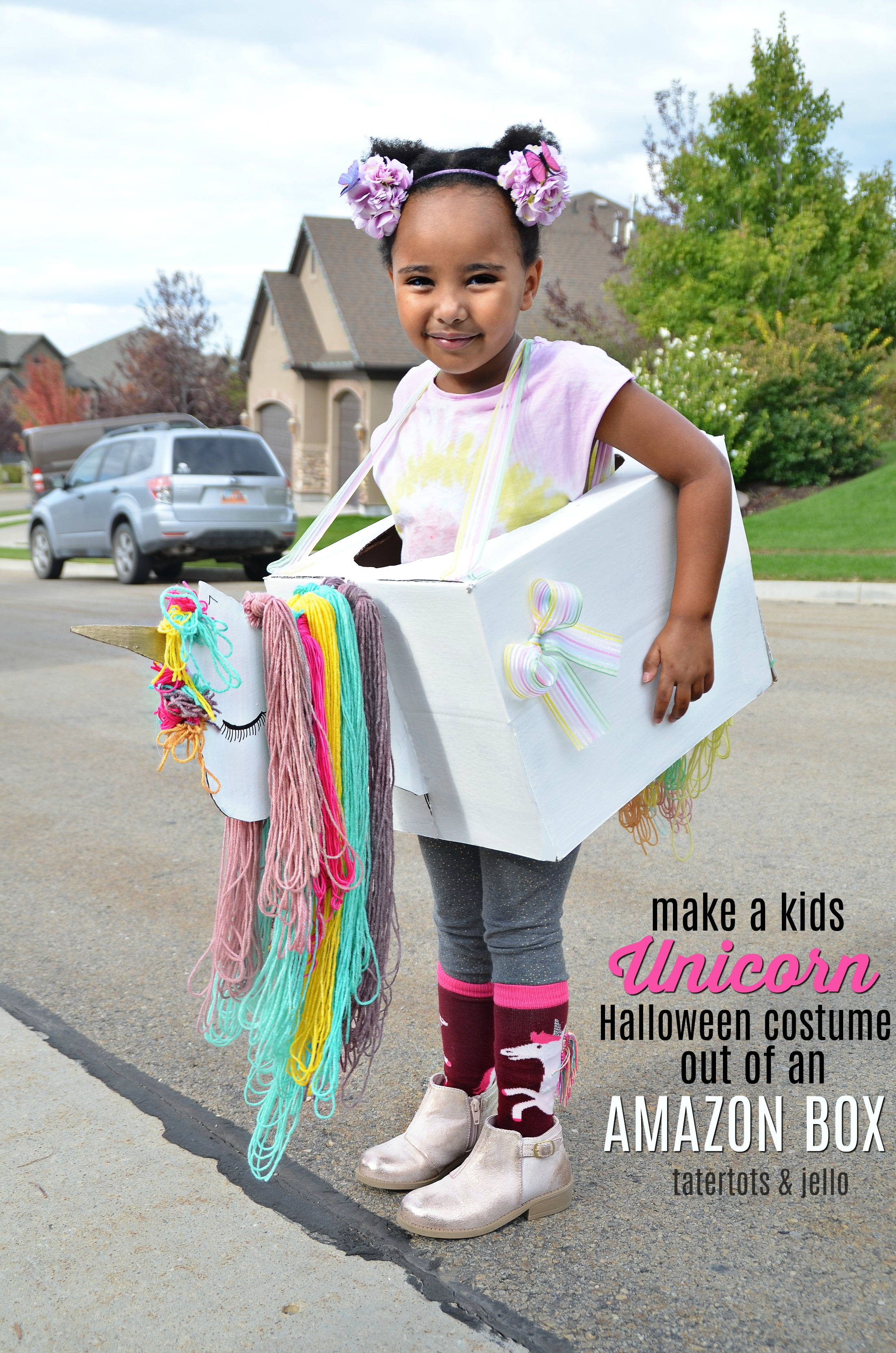 Make a Kids Unicorn Costume Out of Amazon Smile Boxes ? with free unicorn head template!
