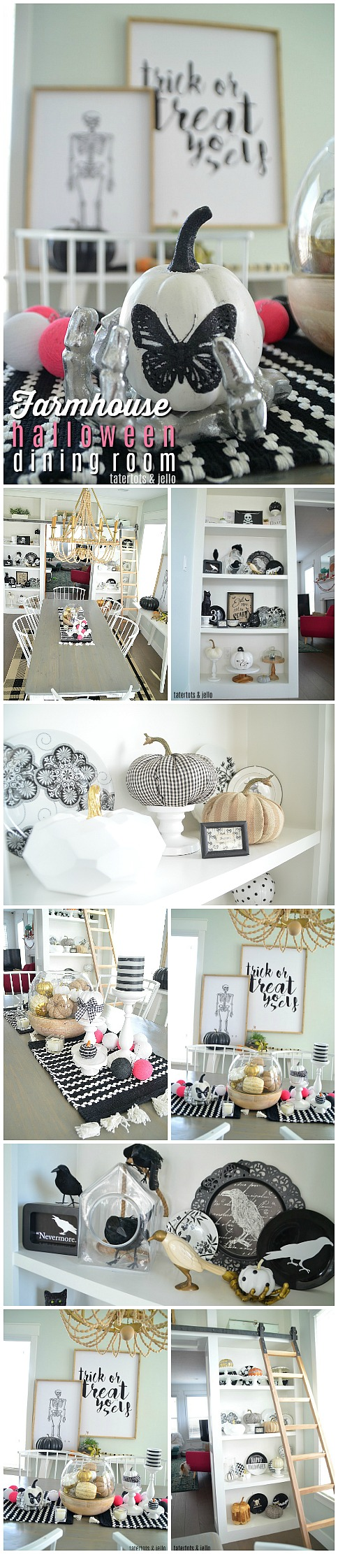 Black and White Farmhouse Halloween Dining Room - simple ways to ...