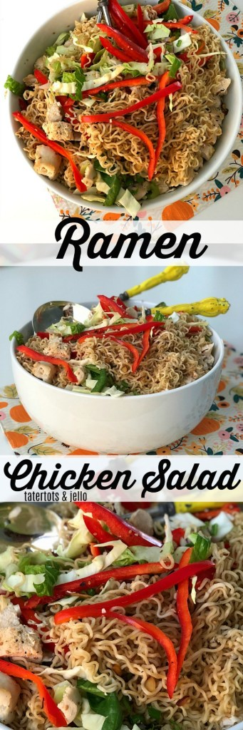 Chinese Chicken Salad is a family secret. Full of crisp cabbage, veggies, filling chicken breasts and topped with ramen noodles. Kids AND parents love it!