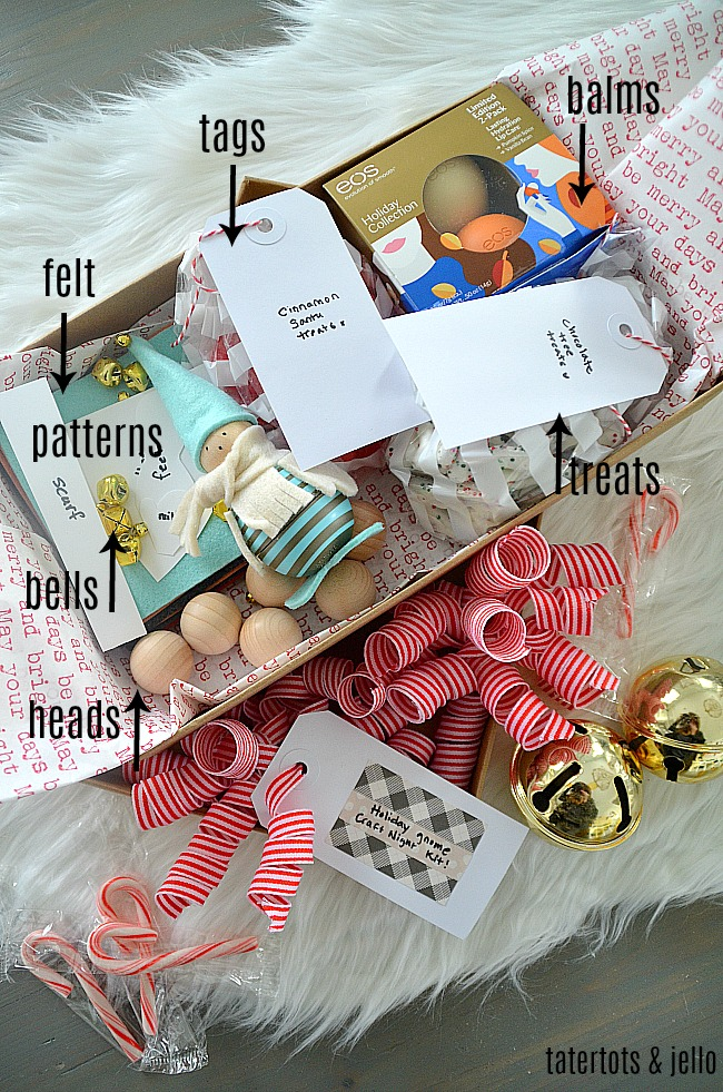 DIY Holiday Gnome Craft Kit Gift Idea. Give a craft night kit as a gift. Make Holiday Gnomes that are also eos lip balms!