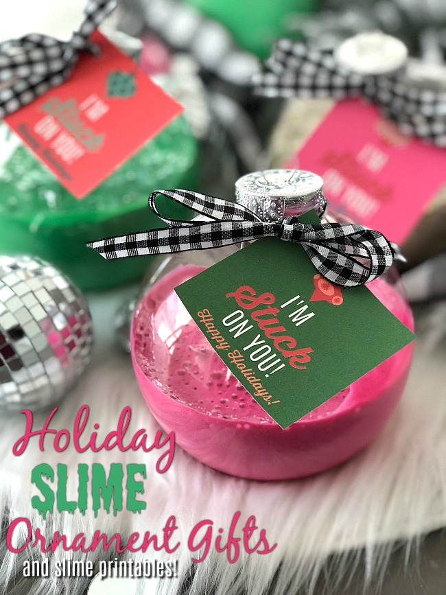 Holiday Slime Ornaments - your kids will love making this glittery slime and giving it to their friends in kid-friendly big plastic ornaments with a special gift tag!