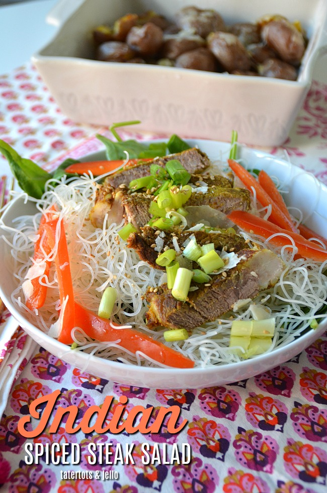 Indian Spiced Steak Salad with Rice Noodles