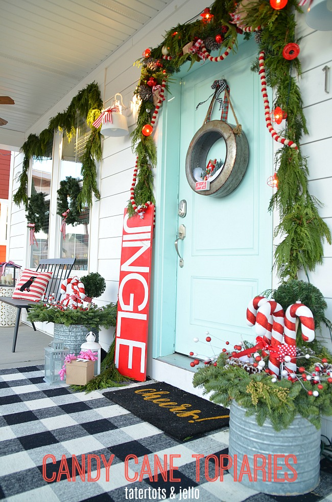 Holiday Home Tour - My Candy Cane Porch!