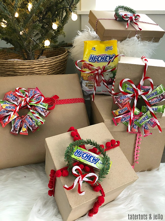 HI CHEW Holiday Gift Toppers. Make your gifts even SWEETER with these DIY candy gift toppers. A fun kids craft!