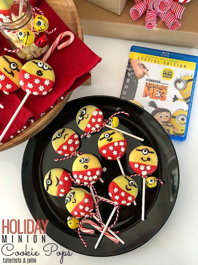 Holiday Minion Cookie Pops – family movie night with Despicable Me 3!