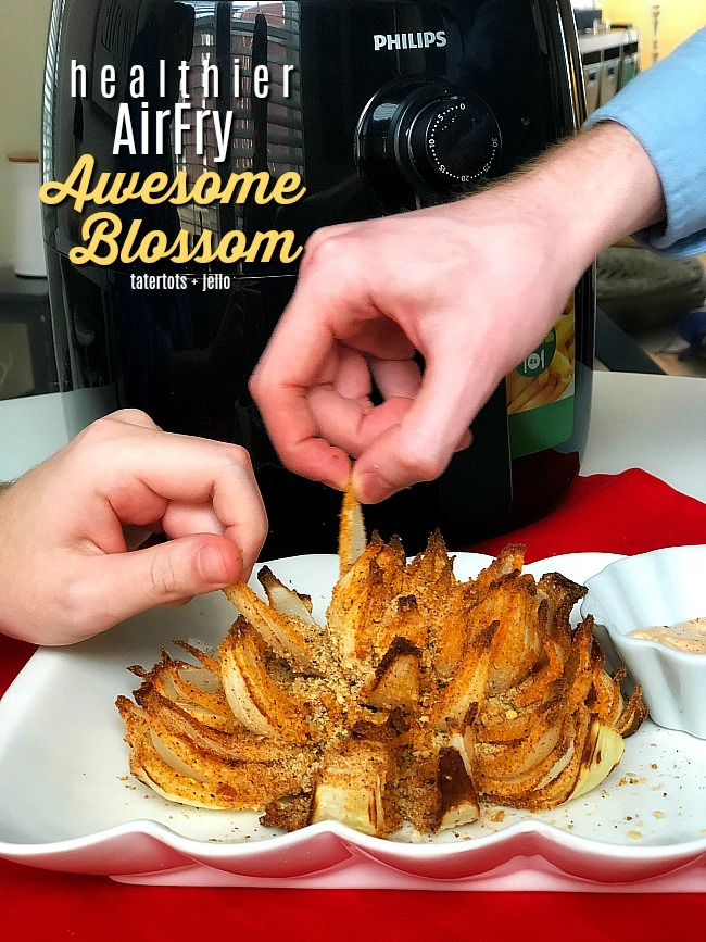 Healthier AirFry Awesome Blossom - make the ultimate appetizer in your AirFry for a delicious game day treat that beats a crowd and has almost 75% less calories than the deep fried version!