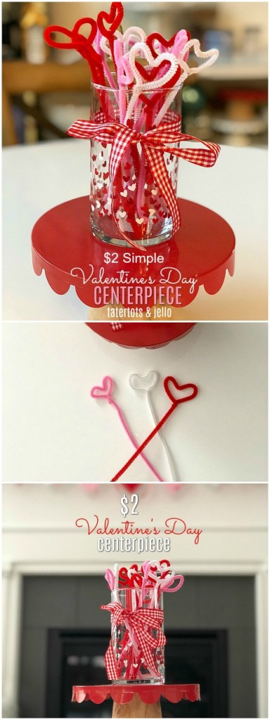 How to make a simple $2 Valentine's Day Pipe Cleaner Heart Centerpiece!