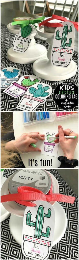 Magnetic Putty + Kids Coloring Cactus Valentine Tags