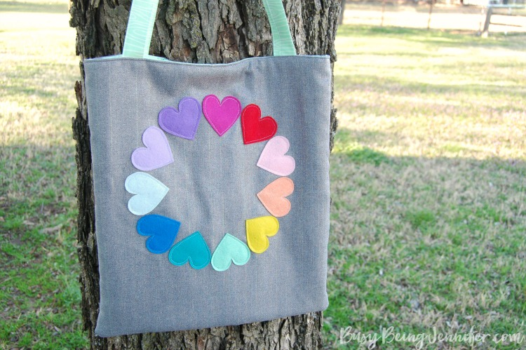 rainbow heart tote diy