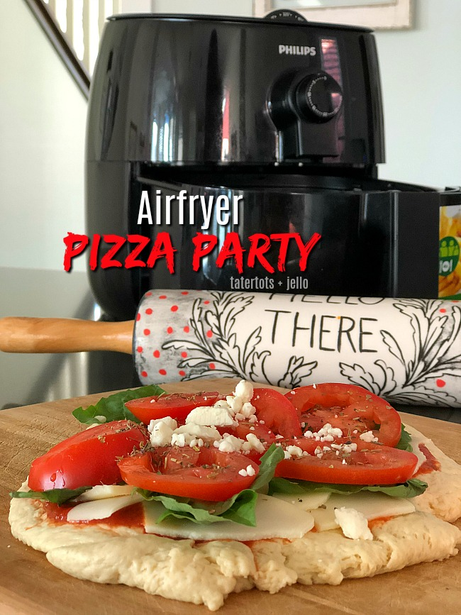 Airfry Pizza Party - kids will love making personalized pizzas. Have everyone make theirs and then cook them in the airfryer. It only takes a few minutes for a perfectly crispy pizza!