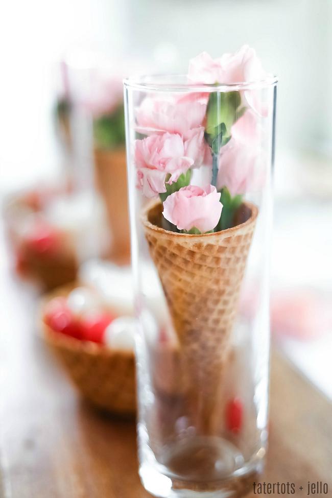 Spring Waffle Flower Centerpiece [Galantine's]