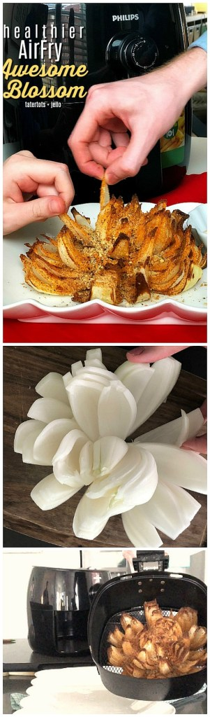 How to make a healthier awesome blossom in an airfryer - less than 25% of the calories and fat as the fried version!