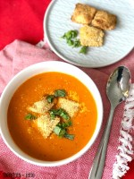 Instant Pot Creamy Tomato Bisque Soup + Airfry Crispy Ravioli = the ultimate winter meal!