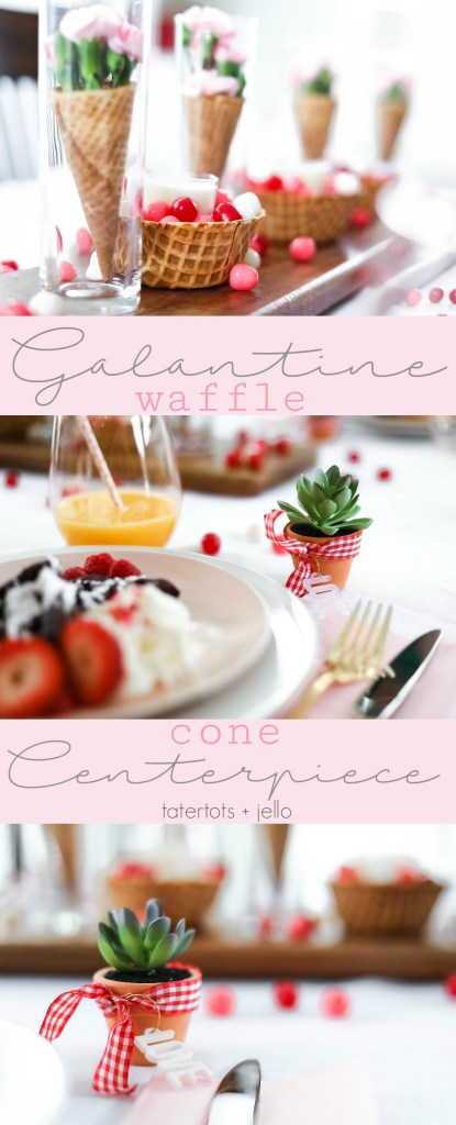 Galantine Waffle Cone Centerpiece idea - easy and perfect for spring, birthday and summer parties too!