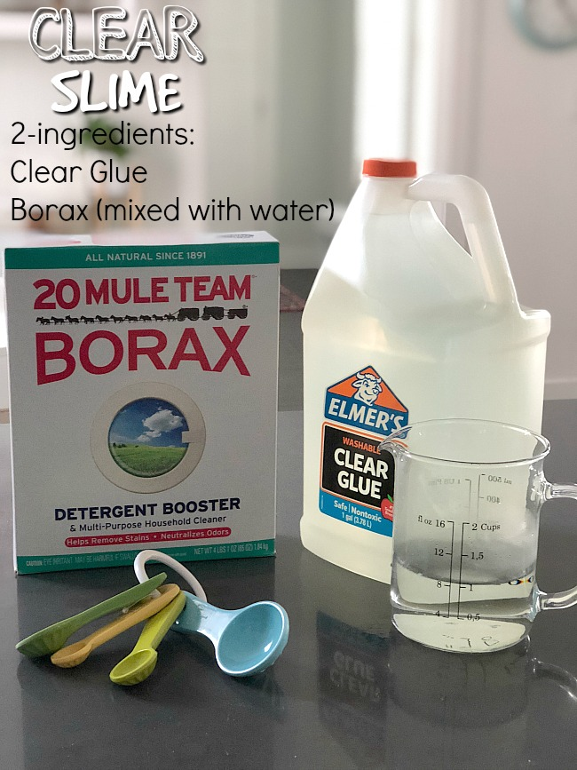 Ingredients for clear slime no borax